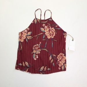 Nordstrom Leith Pleated Floral Print Cami Size L